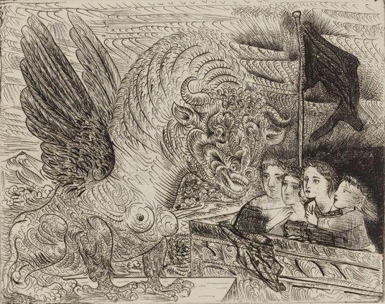 Arpía con cabeza de toro y cuatro niñas en los alto de una torre con bandera negra (1934), de Pablo Picasso.