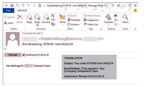 Falso correo electrónico que contiene un virus oculto. (imagen: Trend Micro)